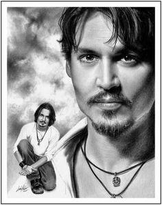 Johnny Depp - Incredibly Realistic Pencil Drawings by Linda Huber