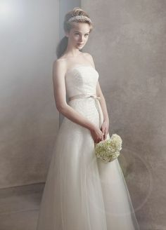 Organza Gown with Fern Embroidery and Net Overlay by Vera Wang