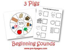 Beginning sound activity for the story of The Three Little Pigs stori, preschool activities, classroom, nurseri rhyme, three bear, idea, literaci, fairi tale, beginning sounds