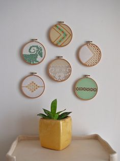 vintage embroidery wall art hoops
