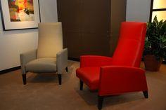 These chairs by Thayer Coggin were designed by legendary mod designer, Milo Baughman. http://www.thehome.com/video-milo-baughman-designs-at-thayer-coggin-mid-century-revival/ #hpmkt