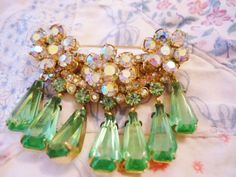 Stunning Vintage Juliana Brooch w Earrings Aurora Borealis RS Green RS Dangles | eBay