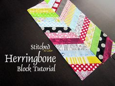 Herringbone Block Tutorial by StitchedInColor, via Flickr