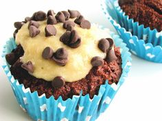 grain/egg/dairy/soy free chocolate cupcakes with cookie dough frosting - refined-sugar free option