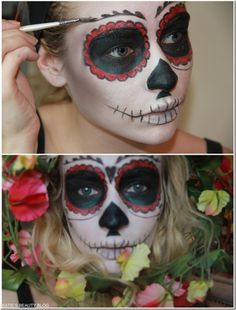Wooow best MAKE UP EVER! This Halloween will be awesome! Here are some awesome make up tutorials guys! skulls, skull halloween, makeup tutorials, mexican sugar, diy crafts, halloween makeup, sugar skull, makeup ideas, red black