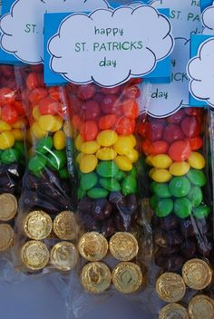 such a cute idea for st. patty's!! use different colored skittles to create the rainbow over a pot of gold (rolos)! - Click image to find more Kids Pinterest pins