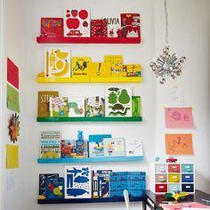 Color Bar Ledges -- great idea for nursery wall