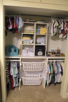 laundry baskets built into closet  - instructions on blog post