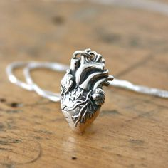 Sterling silver anatomical heart necklace - sterling silver heart jewelry - anatomically correct