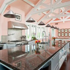decor, idea, coral, exposed beams, dreams, colors, pink kitchens, hous, dream kitchens