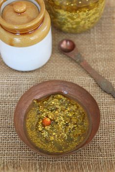 Indian green chilli pickle