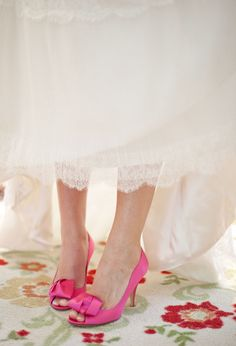 To have bright colored heels under my wedding dress. Chances are they will be pink!