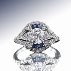 1.10 Carat Art Deco Diamond Ring