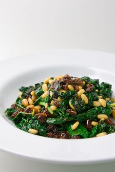 Sauteed kale with raisins and pine nuts