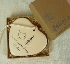 Memorial Porcelain Heart Ornament  Angel Bird by aphroditescanvas, $22.00