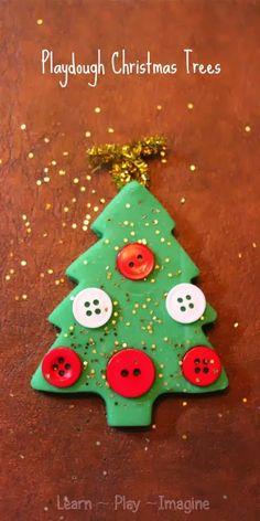 Making playdough Christmas trees to build fine motor skills through festive play