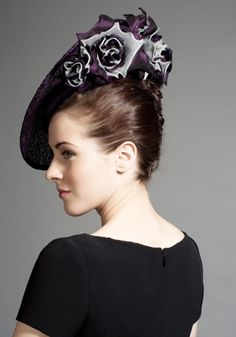 Rachel Trevor-Morgan Millinery - Purple large mesh disc with silk and organdie flowers