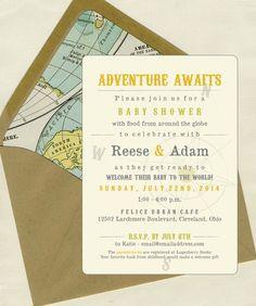 travel shower, envelop liner, adventure baby shower, shower invit, baby shower themes, baby shower adventure, babi shower, bridal showers, baby showers