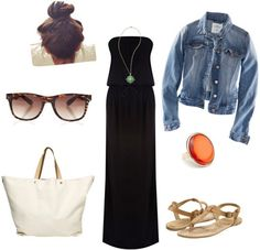How to wear a black maxi dress with a jean jacket, sunglasses, simple flat sandals and a white tote