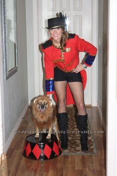 Cool Dog and Owner Couple Costume: Lion Tamer and Her Ferocious Lion!... This website is the Pinterest of costumes