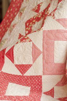 Pretty red & white quilt