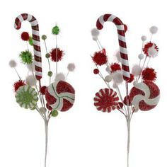 "RAZ Candy Cane Pom Pom Spray Set of 2  2 Asst White/Red/Green Made of Styrofoam Measures 18"" For Decorative Use Only  RAZ Holiday on Ice Collection"