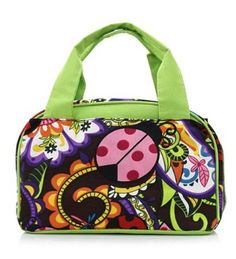 Ladybug Print Insulated Lunch Tote Bag-Lime Green  Back to School Soon! In stock 19.99