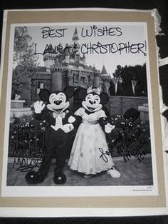 If you send Mickey and Minnie Mouse an invitation to your wedding theyll send you back an autographed photo and a Just Married button? Also, if you send Cinderella and Prince Charming an invitation, youll get an autographed congratulatory certificate. Here are the addresses: Micky  Minnie / The Walt Disney Company / 500 South Buena Vista Street / Burbank, California 91521  Cinderella and Prince Charming / P.O. Box 1000 / Lake Buena Vista, Florida 32830