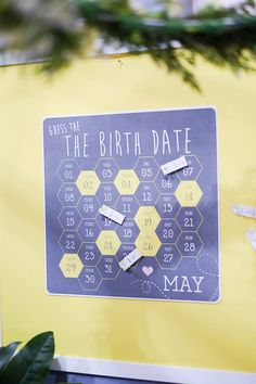 Bee Theme Baby Shower, Guess the Date as part of the Pack A Perfect Party Confetti Fair stand display 2013. Stationery by Senna Jean Designs. Photography by Ale & Kim