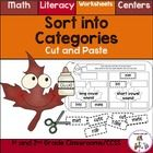 Fall Sort into Categories is for 1st and 2nd Grade Classrooms. There are 47 worksheets that include math or literacy skills. Great for centers or homework. $