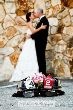 repurpos shutter, firefight thing, bride bouquets, firefighting wedding, diy button, buttons, helmet, photo, felt bouquet