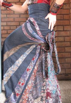Upcycled and Recycled Men's Neckties Victorian Steampunk tie skirt