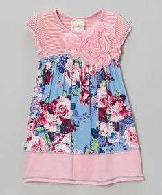 Love this Pink & Blue Floral Rosette Dress - Toddler & Girls on #zulily! #zulilyfinds