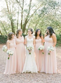Blush pink wedding dresses in different cuts for the bridesmaids #blushpink #blushpinkwedding #weddingdress #weddingideas #bridesmaidsdresses