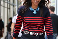 statement necklaces, red stripe, tommi ton, fashion week, street style, photography tips, navy, stripes, bib necklaces