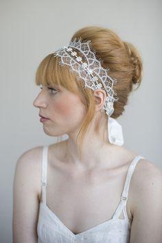 Chantilly and rhinestone self tie headband - Style # 016   Headbands   Twigs & Honey ®, LLC