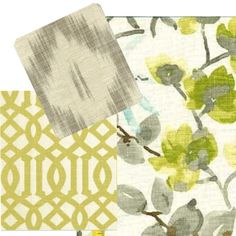 grey and yellow fabric combo
