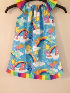 Beautiful Care bears baby toddlers girls dress rainbow peasant pillowcase carebears handmade