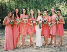 coral bridesmaid dresses | photo by Michael Radford | 100 Layer Cake