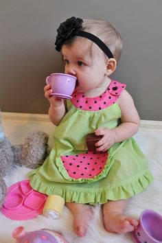 Adorable watermelon dress from BabyChunkCheeks on Etsy.