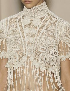 #lace #fashion #couture couture details, fashion, lace tops, jean paul gaultier, bead, jeans, white lace, crochet tops, lace clothing