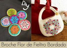 Broche Flor de Fieltro Bordado Diy - enrHedando