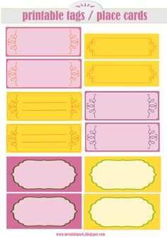 FREE printable tags / place cards