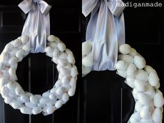 Simple white egg wreath for Easter... via Madigan Made