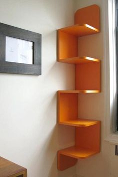 I love these shelves in the corner!!