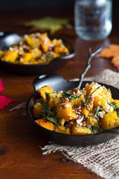 Roasted Butternut Squash with Kale and Almond Pecan Parmesan...a healthy side dish for fall! #recipes #vegan