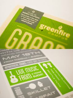 Event postcard design for the Greenfire Campus in Seattle