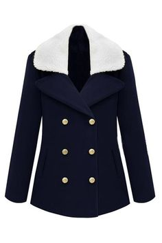 ROMWE | Double-breasted Fur Collar Dark Blue Coat, The Latest Street Fashion #Romwe