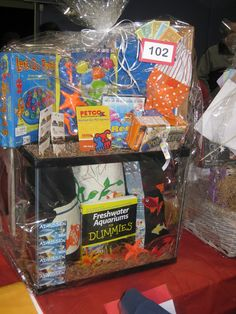 Silent Auction Basket Ideas | Aquarium Theme - Fish themed games, DVD, gift cards and aquarium - $ ...