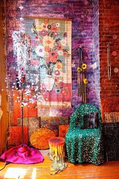interior, gypsy style, color, home decorations, boho, exposed brick, place, bohemian, bedroom